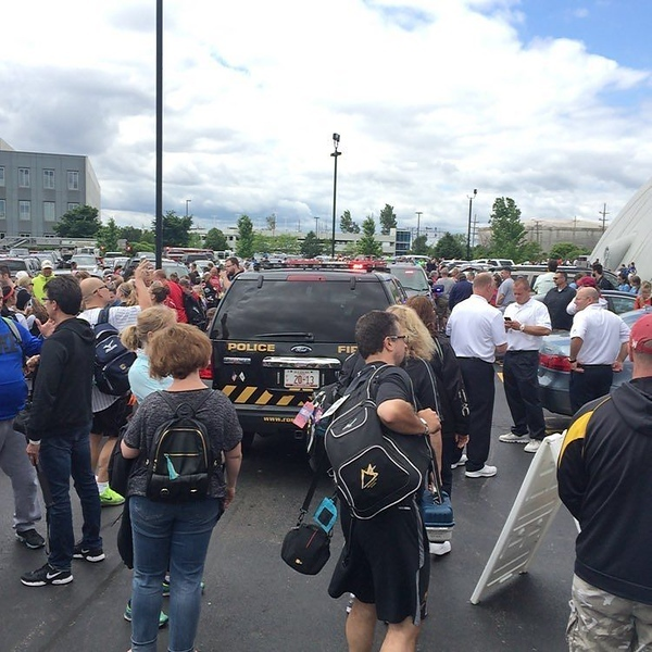 When the fire alarm evacuates thousands into a parking lot...