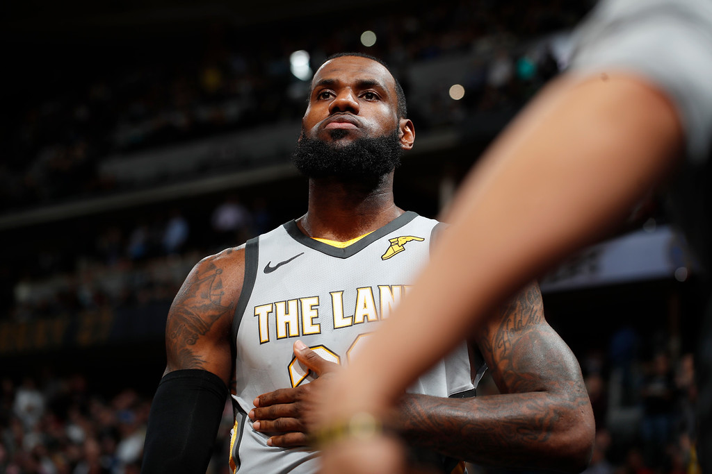 . Cleveland Cavaliers forward LeBron James is introduced for the team\'s NBA basketball game against the Denver Nuggets on Wednesday, March 7, 2018, in Denver. (AP Photo/David Zalubowski)