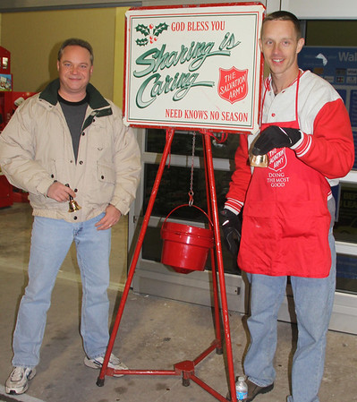 Standing at Salvation Army Red Kettle, Bell Ringer, WalMart, Hometown (11-28-2013)