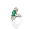 4.05ct Emerald and Old European Cut Diamond Ring 1