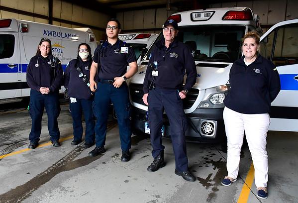 4/3/2020 Mike Orazzi | Staff Bristol Health EMS' Melissa Patrick, Samantha Staubitz, Kevin Boi, Tony Benvenuto and Jodie Kay.