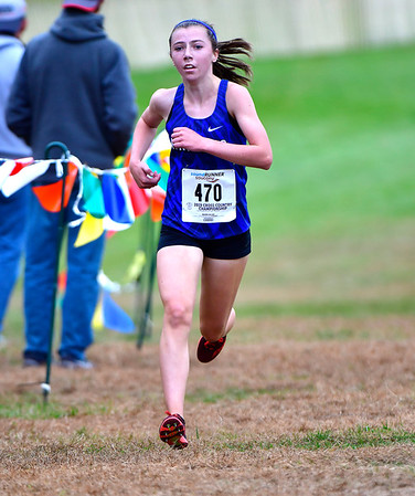 10/16/2019 Mike Orazzi | StaffrSouthington High School's Jackie Izzo (470) uring the girls CCC XC Championship held at Wickham Park in Manchester on Wednesday.