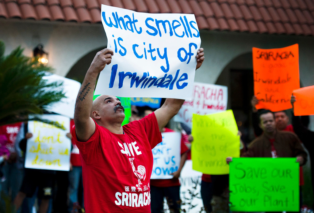 . Sriracha supporters gathered outside Irwindale City Hall before a public hearing in Irwindale on Wednesday, Feb. 26, 2014. (Photo by Watchara Phomicinda/ San Gabriel Valley Tribune)