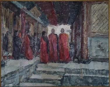 """Longzhuang temple in Fengzhen-Buddhist rites of Guanyin"" (oil on linen) by Qiang Chen"
