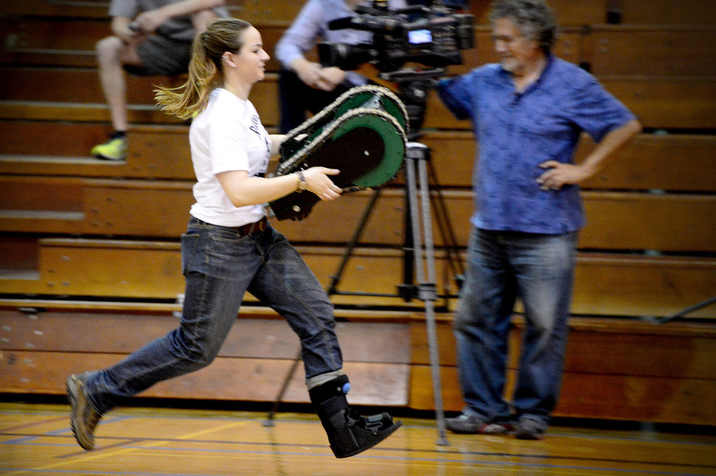 ". Avengers Erin Evans brings her team\'s vehicle to a starting position as teams of mechanical engineering Caltech students compete in the annual ME72 Engineering Design Contest at the Pasadena campus Tuesday, March 11, 2014. The goal in ""Raiders of the Lost Can\"" was to move their team\'s can closest to the center of a platform.  The McNuggets came in first. (Photo by Sarah Reingewirtz/Pasadena Star-News)"