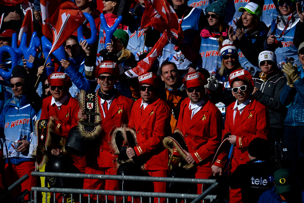 . Fans of WendyHoldener of Switzerland cheer during the ladies\' slalom. FIS Alpine World Ski Championships 2015 on Saturday, February 14, 2015. (Photo by AAron Ontiveroz/The Denver Post)