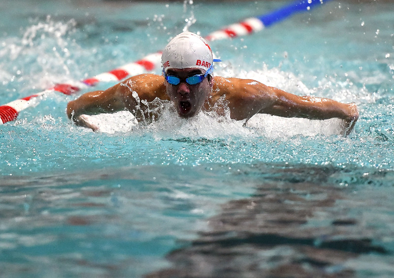 1/21/2020 Mike Orazzi | Staff Bristol swim team's Gabriel Bartolome during Tuesday's meet with South Windsor in Bristol.