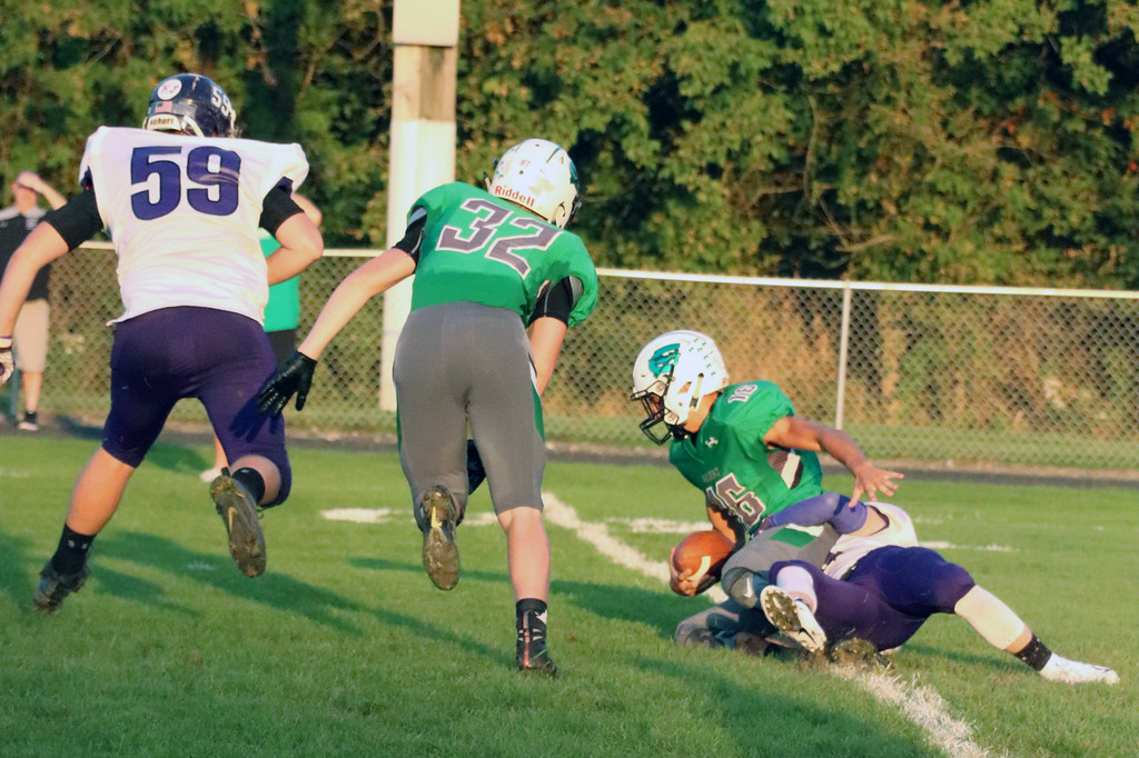 . Nicholas Pfeifer - The Morning Journal<br> Keystone\'s Cory Hartle sacks Columbia quarterback Jared Byczinki on Sept. 14.