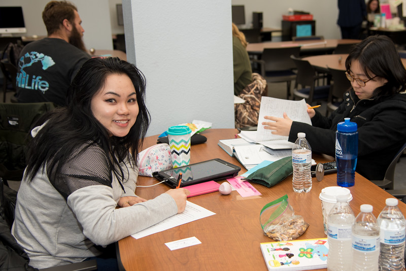 Phuong Hoang (left) and Christine Choe utilize the workspaces at CASA to study for their classes.  Check out CASA's services here: http://casa.tamucc.edu/