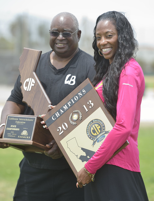 . LONG BEACH, CALIF. USA -- Press-Telegram Girls Track Co-Coaches of the Year Don Norford and Crystal Irving of Poly in Long Beach, Calif., on June 11, 2013. Photo by Jeff Gritchen / Los Angeles Newspaper Group