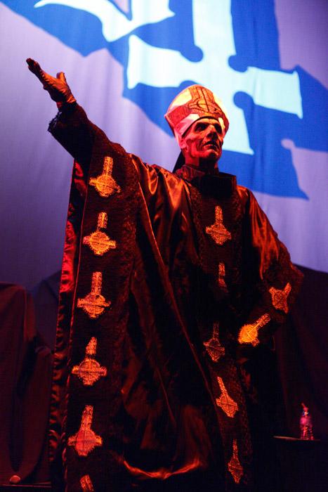 . Papa Emeritus II of Ghost B.C. at Joe Louis Arena. Photo by Ken Settle