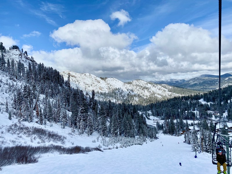 Alpine Meadows Lake Tahoe, California from the ski lift on a snow covered day