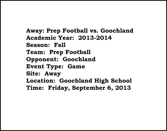 Prep Football vs Goochland HS