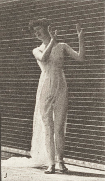 Semi-nude woman walking and turning around, showing an action of aversion