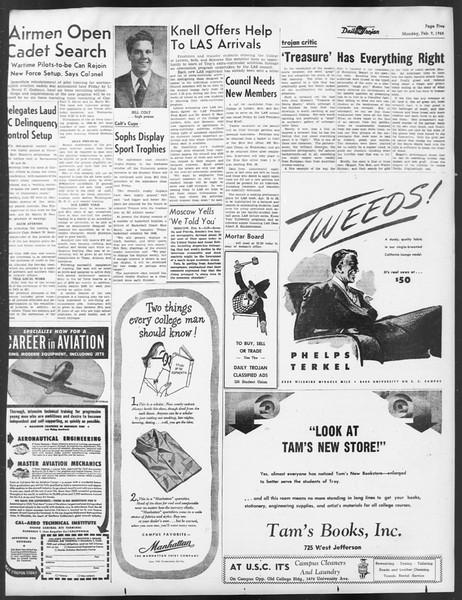 Daily Trojan, Vol. 39, No. 74, February 09, 1948