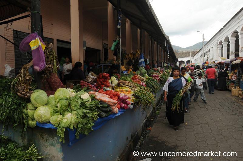 Vegetable Aisle of Otavalo's Saturday Market - Ecuador