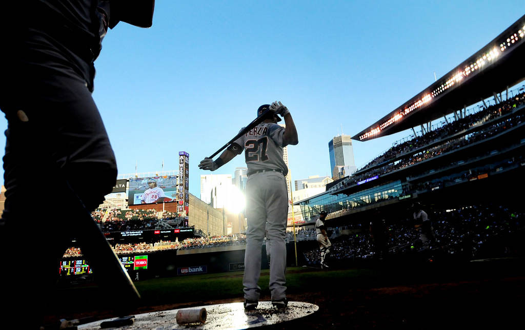. Detroit\'s Jhonny Peralta gets ready to bat during the sixth inning. (Pioneer Press: Sherri LaRose-Chiglo)