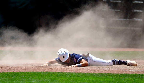 6/8/2019 Mike Orazzi | Staff Staples High School's Andrew Moy (15) during a 3-0 win over Southington in the Class LL State Baseball Tournament at Palmer Field In Middletown on Saturday.