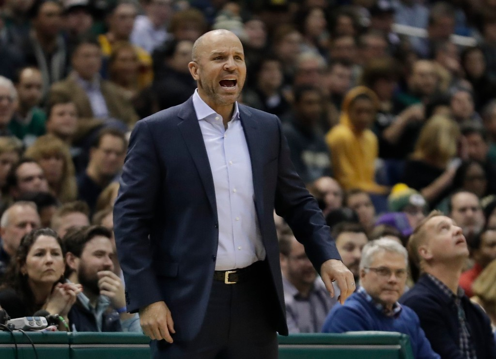 . Milwaukee Bucks head coach Jason Kidd yells during the first half of an NBA basketball game against the Cleveland Cavaliers Tuesday, Dec. 19, 2017, in Milwaukee. (AP Photo/Morry Gash)