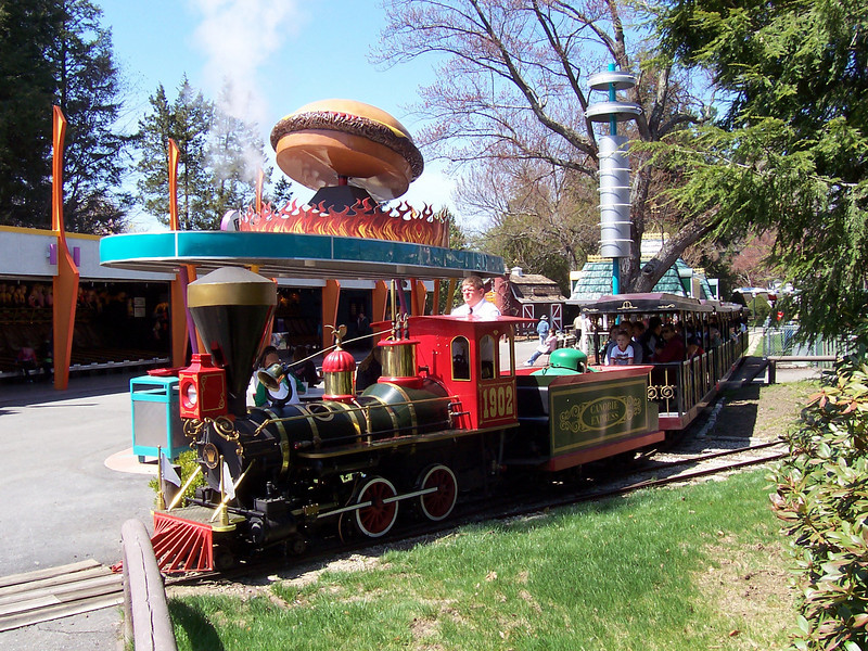 Canobie Express train, in front of the Be-Bop Diner.