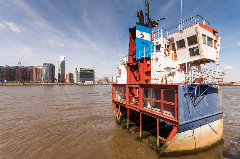 Slice of cargo ship on the River Thames