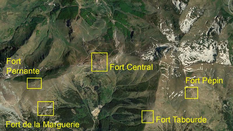 Fort Central en zijn oostelijke buurforten