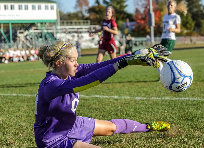 Viking's goalkeeper Sam Bickfrod turns away a shot from Edward Little's Olivia Paione in the Vike's 2-0 defeat.