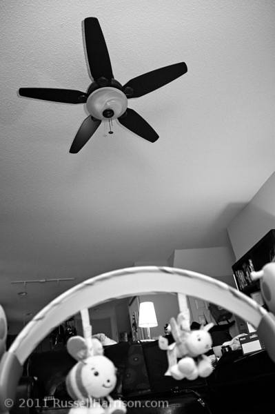 At this age they really like looking at high contrast things.  The fan in our living room clearly fits the bill.  Its their favorite thing to stare at these days.  Doracy decided to get a picture of it from their point of view.