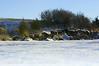 lake shore in winter, the shoreline is slumping