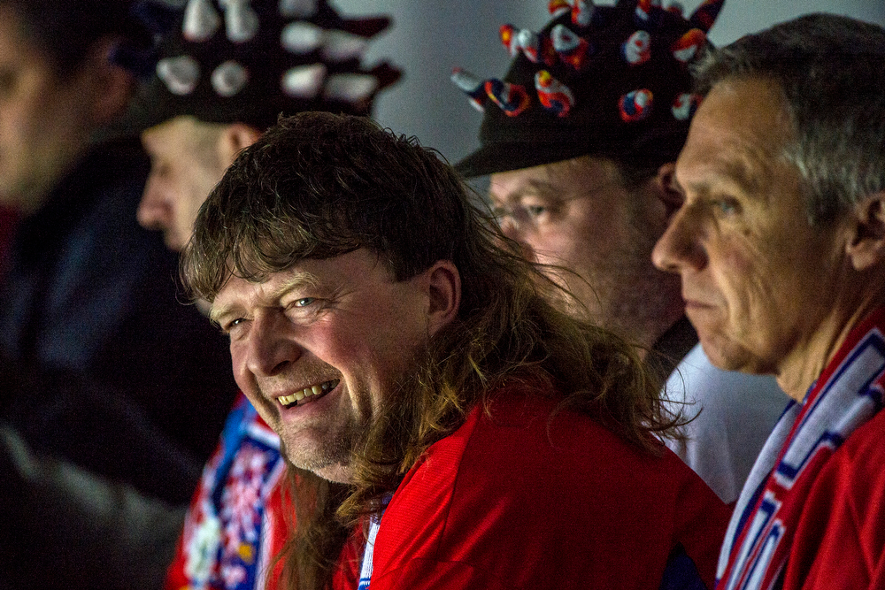 . Russian fans watch the game at Bolshoy Ice Dome during the 2014 Sochi Olympics Saturday February 15, 2014.  The United States men\'s hockey team defeated Russia with a 3-2 overtime victory. (Photo by Chris Detrick/The Salt Lake Tribune)