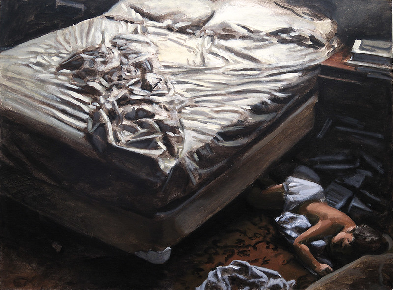 Sleeping child; acrylic on canvas, 32 x 43.5 in., undated (circa 1988)