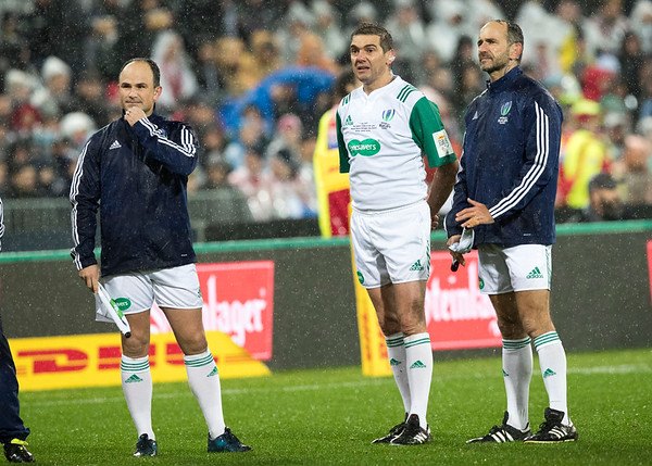 Jaco Peyper (South Africa) Jérôme Garcès (France) Romain Poite (France) during game 9 of the British and Irish Lions 2017 Tour of New Zealand, the second Test match between  The All Blacks and British and Irish Lions, Westpac Stadium, Wellington, Saturday 1st July 2017 (Photo by Kevin Booth Steve Haag Sports)  Images for social media must have consent from Steve Haag