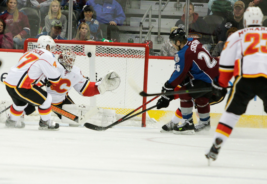 . Colorado Avalanches\' Paul Stastny (26) scores past Calgary Flames\' goalie Karri Ramo, of Finland, during the second period of an NHL hockey game on Friday, Nov. 8, 2013, in Denver. (AP Photo/Barry Gutierrez)