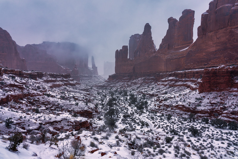 Snowy Day, Park Avenue, Arches National Park