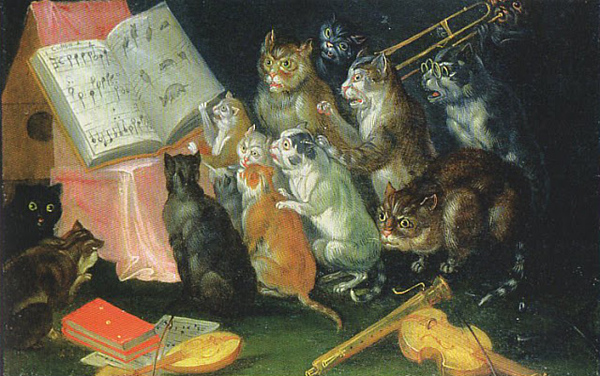 1670c Ferdinand Van Kessel (1648 Antwerp, Belgium - 1696 Breda, The Netherlands) Cat's Concert oil on canvas 40 x 82 cm Private Collection.jpg