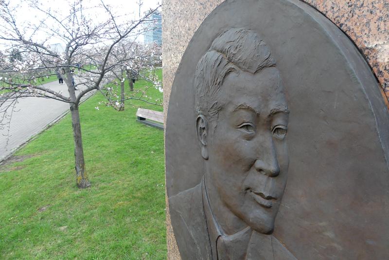 Monument for Chiune Sugihara in Vilnius Sakura Garden. Editorial credit: Donatas81 / Shutterstock.com