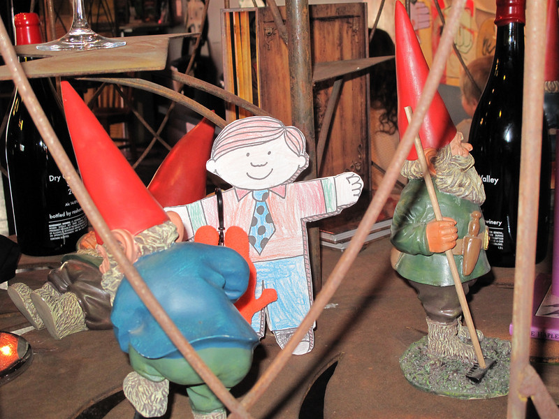 Flat Stanley hangs out with the gnomes at Roshambo Winery tasting room