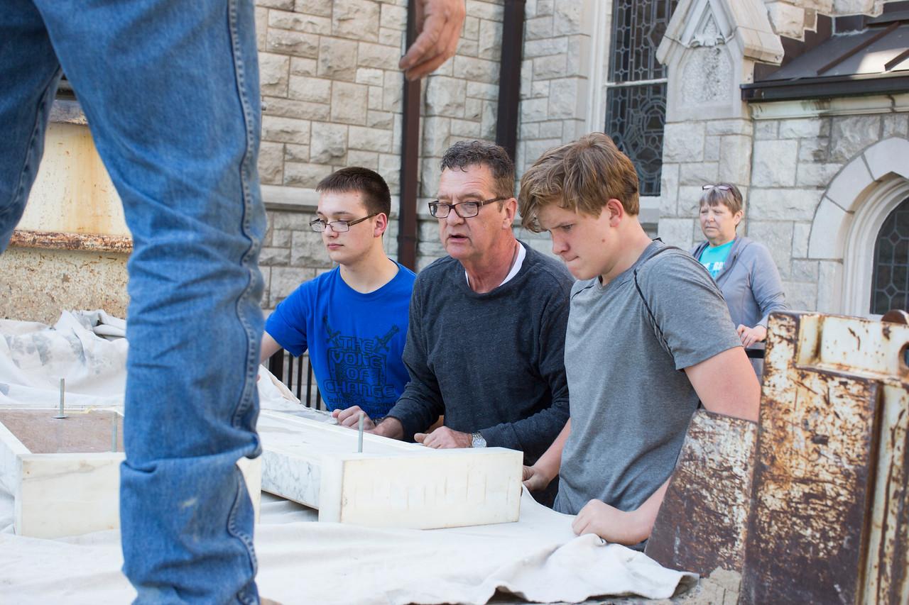 Josh Hinkle (left), priest, Ian Kelly