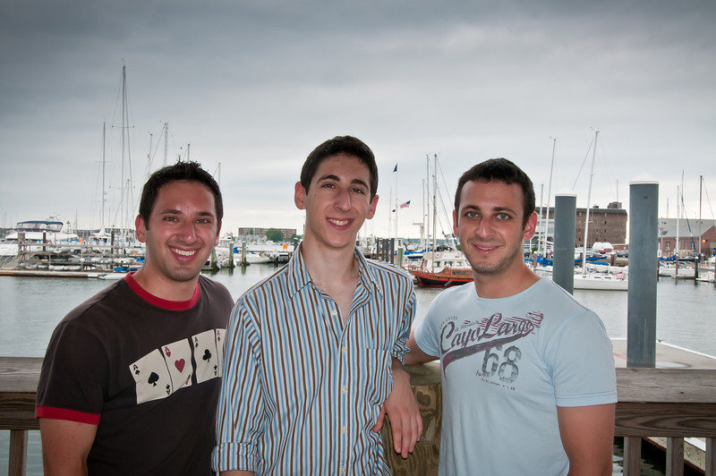 The brothers in front of Newport Harbor