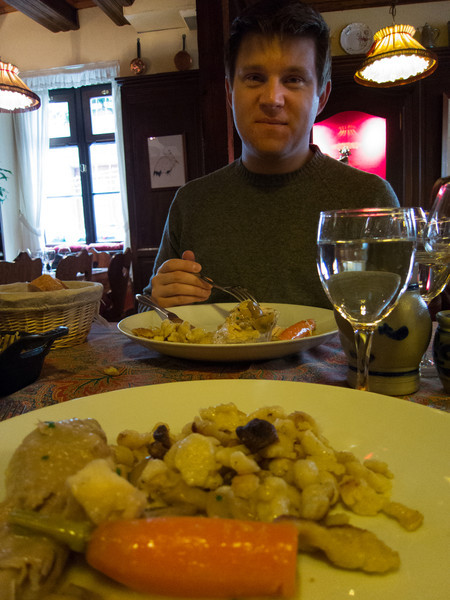 The best we could come up with for Thanksgiving lunch - coq au Riesling with a side of Spätzle. Quite heartly and delicious!
