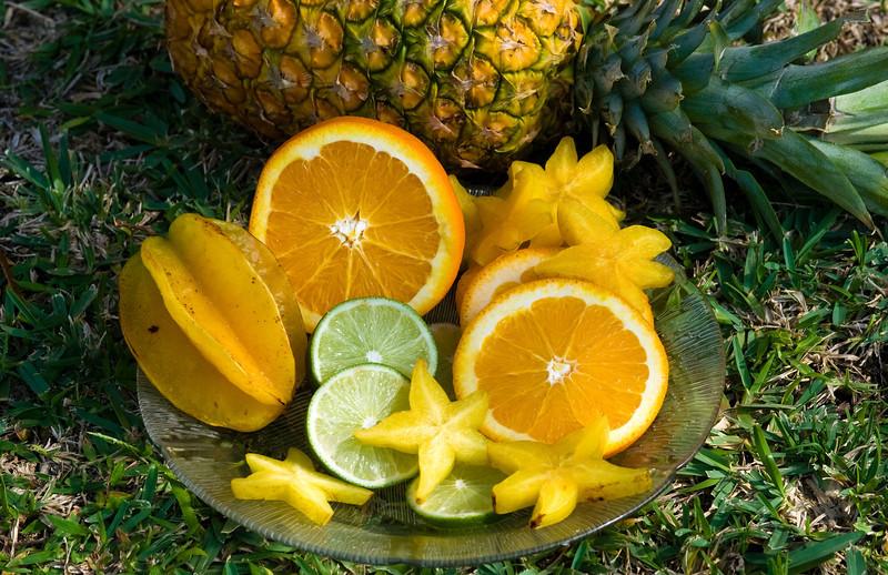Fruits Star fruit, oranges, lime, pineapple