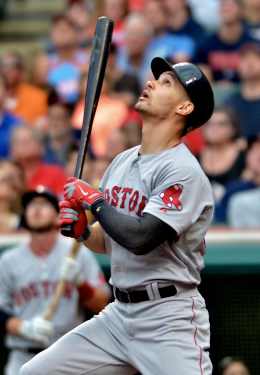 . Jeff Forman/JForman@News-Herald.com Boston\'s Grady Sizemore watches his pop fly ball in the  second inning of the Indians game against the Red Sox June 2 at Progressive Field.