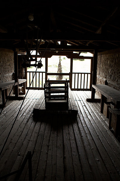 This room contains the winch and net - the original means of entering and exiting the monasteries of Meteora.