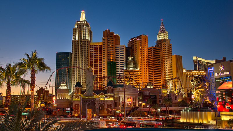 Las Vegas at dusk.