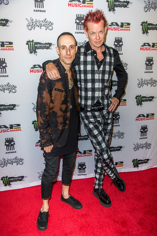 . Frank Zummo, left, and Adrian Young seen at 2017 Alternative Press Music Awards at the KeyBank State Theatre on Monday, July 17, 2017, in Cleveland. (Photo by Amy Harris/Invision/AP)