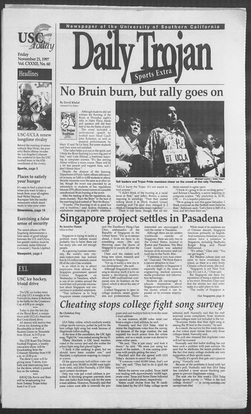 Daily Trojan, Vol. 132, No. 60, November 21, 1997