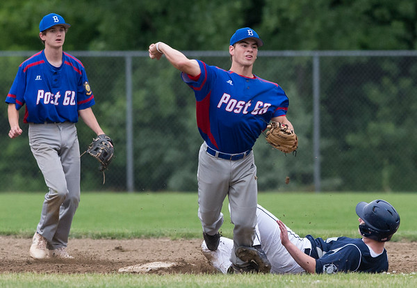 06/19/19 Wesley Bunnell   Staff Berlin Legion vs Newington at Legends Field in Newington on June 19, 2019. Dan Velens (25) attempts to turn the double play with Newington's J. Coleman (43) sliding in.