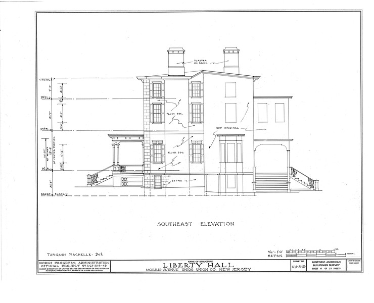 Architectural plans of the side view of Liberty Hall. This work was done as part of the Historic American Buildings Survey (HABS) in 1938 as part of the WPA.
