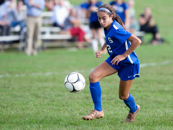 10/09/18 Wesley Bunnell | Staff Southington girls soccer defeated Platt at home on Tuesday afternoon. Morgan Hubert (22).