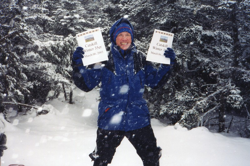Mark - a bit excited about his Catskill Winter 3500 climb.